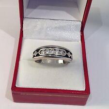 Men's 10k White Gold 1/4tcw Channel Set Diamond Wedding Band Ring. Sz11 (4.5g)