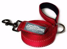 6ft Red Dog Leash - Thick, Heavy-Duty, Padded Handle, Reflective Stitching