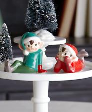 Vintage Style Workshop Elf Christmas Ceramic Salt Pepper Shaker Set