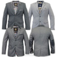 Mens Voeut Blazer Coat Formal Jacket Suit Smart Suede Patches DESIGNER Lined New