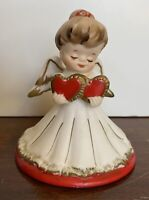 Vintage Lefton Valentine Angel W/ Hearts #2774 Ceramic Figurine with Label Japan