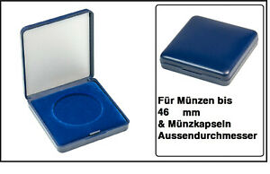Lindner 2029-046 Blue Plastic coin case With velour insert For Coins To 13/16in