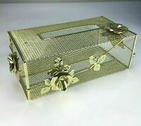 Gold Filigree vtg Tissue Holder Cover Hollywood Regency Vanity Floral Ormolu