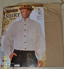 ADULT STEAMPUNK VICTORIAN ERA BEIGE COLLARLESS SHIRT COSTUME ACCESSORY FM76371