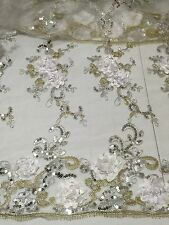 """WHITE MESH W/WHITE SILVER GOLD EMBROIDERY  SEQUINS LACE FABRIC 52"""" WIDE 1 YARD"""