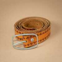 Unisex Brown Leather Jeans Belt Stamped Vintage Men's Small Women's Medium