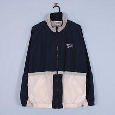 Vintage Reebok Shell Jacket in Navy Blue & White Windbreaker Retro 90s Medium M