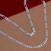 ASAMO Damen Herren Halskette Figarokette Gliederkette Silber plattiert HA1102