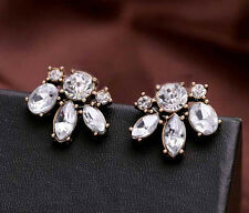 Fashion Delicate Cute Clear Crystal Leaf Flower Bronze Metal Stud Earrings