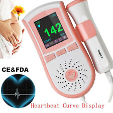 USA 4 Function Fetal Doppler Baby Sound Color Monitor 3M Probe Alarm Record Safe