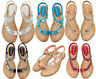 Womens Flat Diamante Thong Sandals Elastic Strap Toe Post Summer Beach Shoes New
