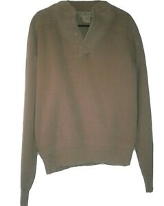 Vintage LL Bean Mens Large Ribbed Knit Fisherman Henley Sweater Brown USA MADE