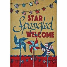 Star Spangled Welcome Patriotic Large House Flag 2 Sided by Rain or Shine
