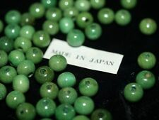 Vintage NOS Lot of 100 Sea Green Blue Wood Wooden Beads 8MM Round Japan Macrame