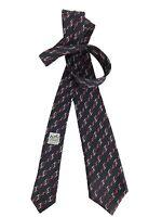 HERMES Krawatte - schwarz rot weiß - 951 IA - Steigbügel - 100% Seide - TOP