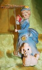 Vintage Sonsco Victoria Lady Blue Dress,Poodle,Umbrella 6in tall Figurine