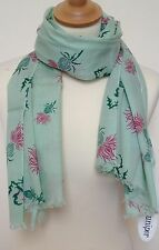 NEW 100% COTTON WOMEN'S THISTLE PRINT ON GREEN BACKGROUND  SCARF BY JUNIPER