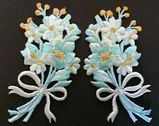 FLOWER PATCH X 2; Light Blue/Gold + BOW, matching pair; SEW-ON/IRON-ON