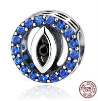 100% 925 Sterling Silver Blue Eyes Zirconia BeadS Charm pandora