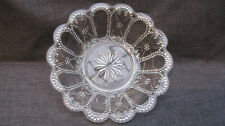 Antique Early American Pattern Glass Beaded Oval and Scroll Sauce Dish
