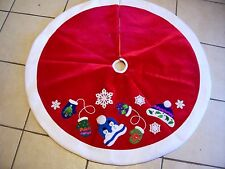 48 INCH RED VELORE & WHITE FLEECE SNOWMAN TREE SKIRT CHRISTMAS DECORATION