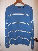 Izod Vintage 1990's Blue White Stripe Cotton Crew Neck Preppy Nautical Sweater L