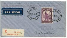 BELGIAN CONGO 1939  1st flight registered cover Oslo-Bergen pmk Leopoldville