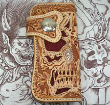 RIDER DEVIL SKULL GENUINE STINGRAY SKIN LEATHER MENS BIKER WALLET MOTORCYCLE