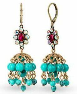 $35 Betsey Johnson Blue Turquoise Beads Boho Chandelier Drop Shaky Earrings BH-5