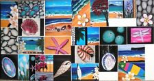 Beach Shells Thongs Hibiscus Scallop Jandals -24 Prints of my Original Paintings