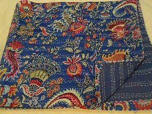 King Blue Floral Quilt Bedspread Throw Cotton Blanket Indian Handmade Kantha Art