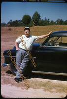 1951 Plymouth 1950s 35mm Slide Red Border Kodachrome Car Man Hat