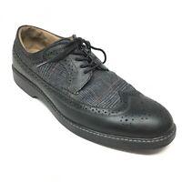 Men's GH Bass & Co Pasadena Oxfords Shoes Size 11M Black Leather Wingtip U2