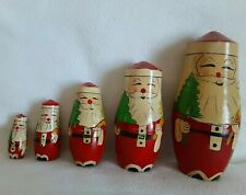Vintage Santa Christmas Matryoshka Nesting Dolls Wooden Russian Set of 5