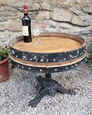 coffee table, bistro base with old barrel top, iron low base,garden,patio,bar
