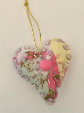Pretty Pastel Handmade Heart Valentine Ornament Repurposed Quilt sequins & beads