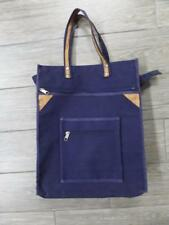 a13b1fcacf 1980s Vintage CANVAS   LEATHER Blue 16x13x4 Tote Bag Duffle Gym Beach ll  bean