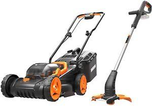 WORX WG927E 34cm Dual Battery 36V Lawn Mower & 18V Cordless Grass Trimmer USED