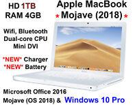 Macbook 2GHz 1TB  4GB Office 2016, 2019 Mojave & WINDOWS 10