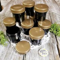 24 Black polypropylene Plastic Jars GOLD Screw CAP Containers 1 ounce  4305 USA