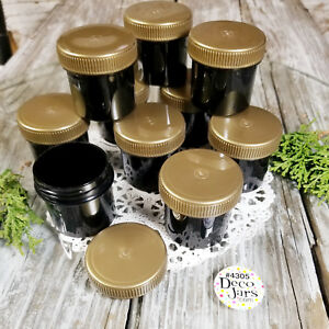 24 Black Plastic Jars GOLD Screw CAP Containers 1 ounce Top quality 4305 USA New