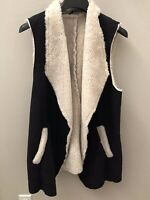 French Laundry Women's Vegan Black Suede Fur Vest - Size Large - NWT