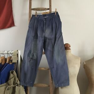 """True Vintage French Workwear Faded Patched Darned Chore Trousers Pants W28"""""""