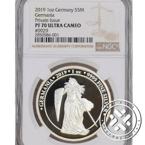 2019 NGC PF 70 Ultra Cameo Germania 5 Mark 1 oz Silver Proof Coin