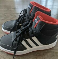 EUC Big boys, adidas high top shoes, size 3.5 black with red and white SNEAKERS