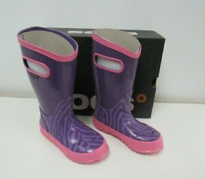 New BOGS Kids Girls Rain Boots Purple/Pink Zebra Print Size 10