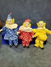 Set Of 3 Small Clowns made in Taiwan. Porcelain Limbs that are poseable.