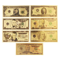 7X USD Dollar Gold Foil Golden Paper Money Currency Banknotes Crafts     AU