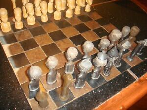 """Vintage Hand Carved African Wooden Carved Chessmen Pieces king 4"""" tall 29"""