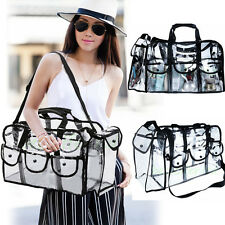 Large Carry Clear Set Case, Pro Mua Shoulder Strap Bag With 6 External Pockets